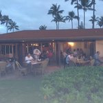view from beach, of back patio and lanai seating