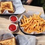 BBQ Brisket sandwich on Texas toast.