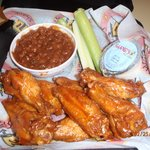 Wings and bake beans