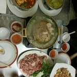 Mookata (Thai steamboat) with side dishes like Red Tomyam Soup, Basil Chicken, Phad Thai....