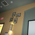 Pictures on the wall in the pool room