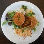 Crab cake and fried green tomatoes