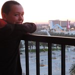 Our son on the balcony overlooking the back of Disney's California Park