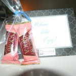 Welcome note and candy