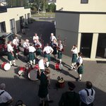 Our Band tuning up in the courtyard