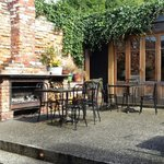 The rear garden and pizza cafe. Stunning location.