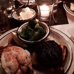 Filet Mignon, lobster tail & broccoli $38.50