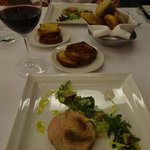 Delicious plates of foie gras and fig terrine served with toasted brioche.