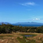 View across to Freycinet at Kate's Berry Farm