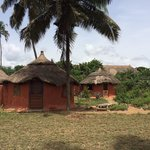The beach huts.