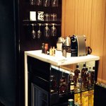 Extensive mini bar in room including nespresso machine (free), and spirits minis (Including Hend