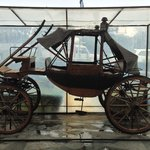 The beautiful carriage on display outside the portico