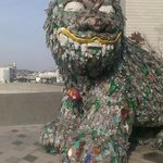 Dog made out of recycled bottles