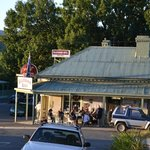 Blackwood, Victoria pub with all the locals chatting, drinking, summer Saturday night.