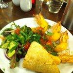 Tempura prawns, dressed salad & bread (hand shaking it looked so good!)