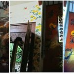 At the artist's gorgeous home - beautiful mural and details!