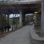 Blue lights indicate you are now heading downtown where trail ends