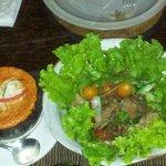 Amok in coconut shell, Warm beef salad