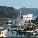 Balcony view as Wellington ferry departs Picton harbour