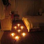 Romantic room after anniversary dinner