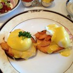 Eggs benedict with smoked salmon for breakfast - fantastic!