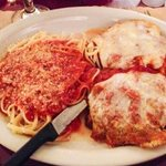 Veal parm with a side of linguine