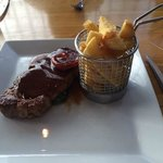 Sirloin steak and chunky chips.