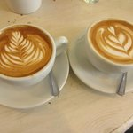 A detail of the coffees