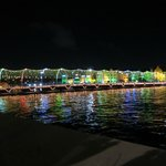 Floating bridge at night