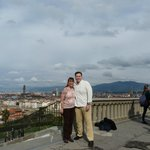 Photo op at famous Piazzale Michelangelo... cheesy tourist stuff but we had to do it!