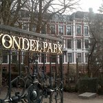 Vondelpark with hotel in background