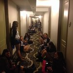 30 kids sitting on the floor of the Springfield La Quinta waiting to be let into their rooms. Th