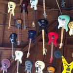 Ceiling and wall of famous guitars