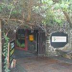 entrance of the red adventure lodge at Puerto Ayora, Santa Cruz