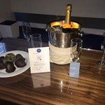 Spoiled with birthday champagne and chocolate covered strawberries!