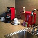 Nespresso machine & kitchenette