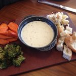 Red dragon fondue with roasted vegetables