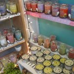 Island scented soy candles by local artists.