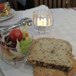 salad cup with bread, complimentary