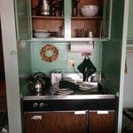 Kitchenette stove, sink, refrigerator