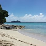View of the cruise ship at port from Rainbow Beach