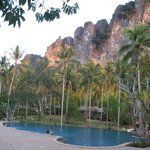 View of the surrounding limestone cliffs from pool