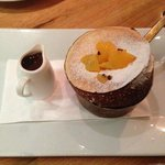 Orange souffel with chocolate sauce