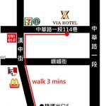 Map of hotel from Ximending station exit 6