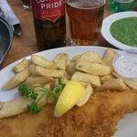 Haddock and chips, mushy peas and London Pride