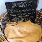 Thoughtful touch, blankets for customers