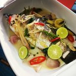 Steamed Sea Bass with Herbs Sauce