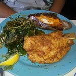 Fried Grouper with Fried Spinach