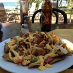 Chicken Nachos & Cervesa...enough for 2 to share at lunch.