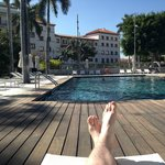 Relaxing by the saltwater pool...